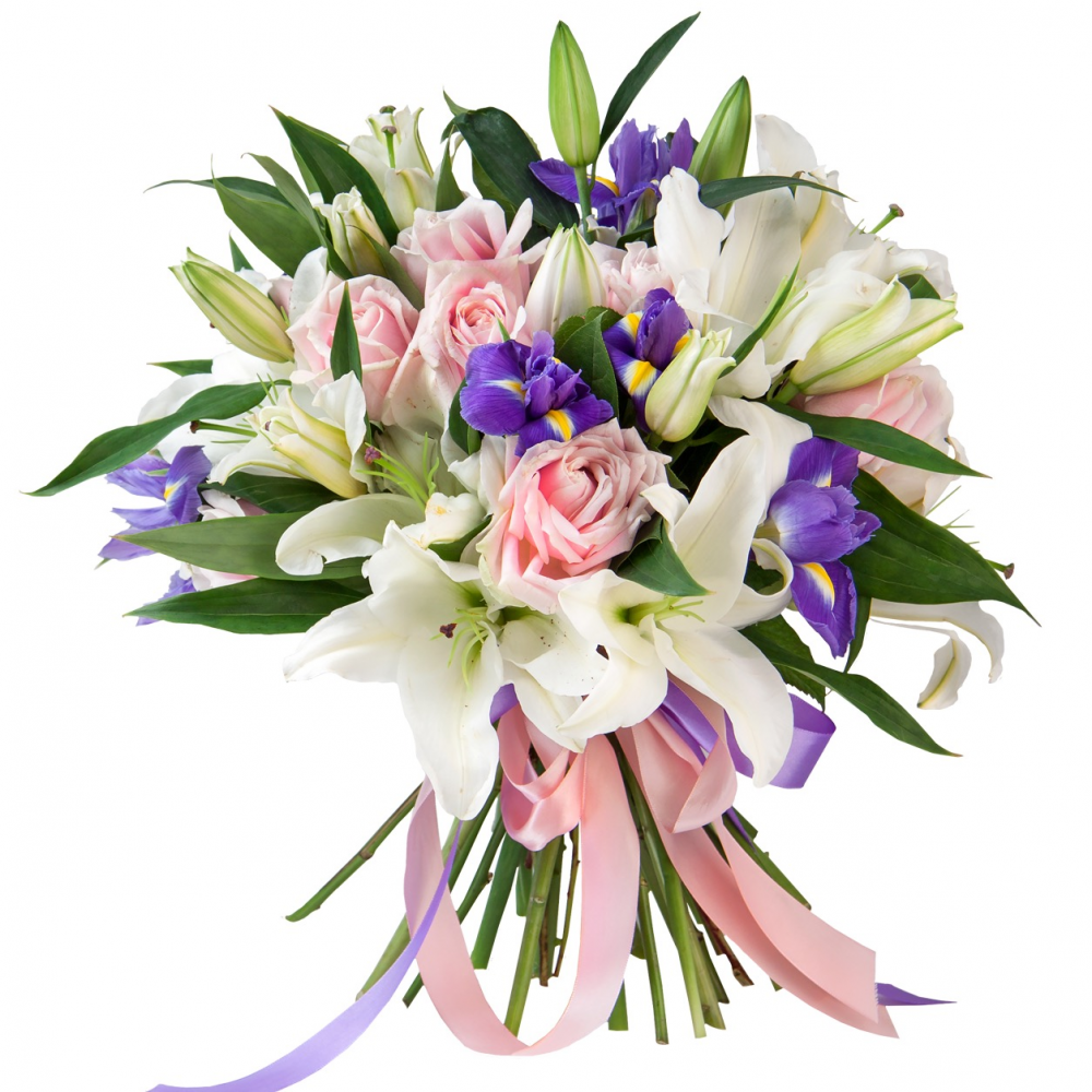Доставка цветов, сочетание лилий с другими цветами в букете