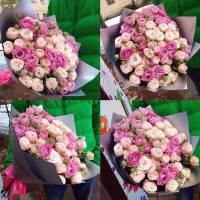 Букет 25 пионовидных роз с крафтом R033