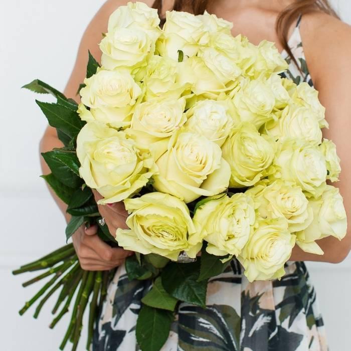 Букет 25 белых крупных роз R027