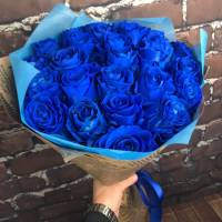 Букет 19 синих роз с оформлением R575