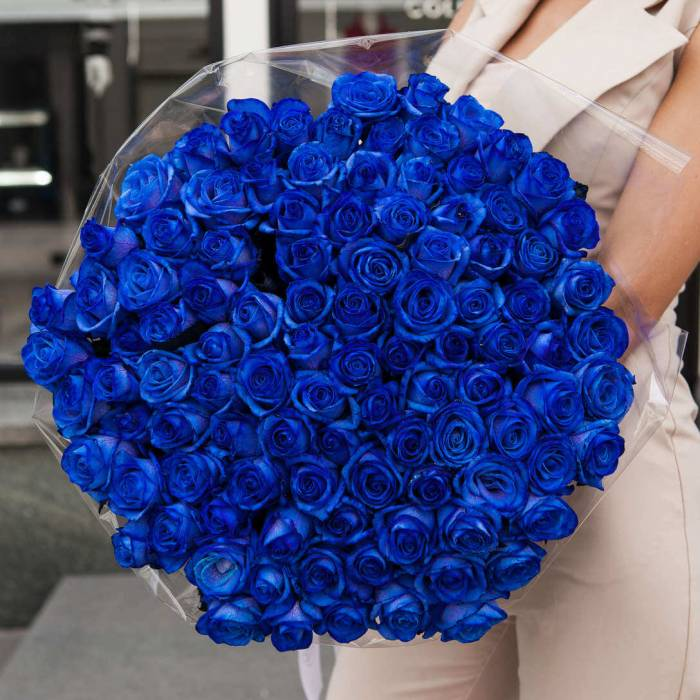 101 синяя роза в букете R378