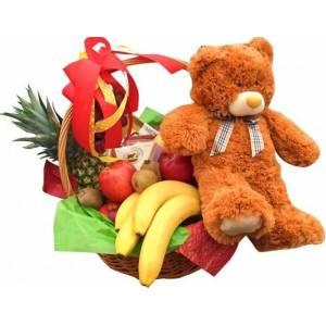 Большая корзина с фруктами, сладким и мишкой R1009