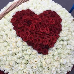 501 роза с красным сердцем R082