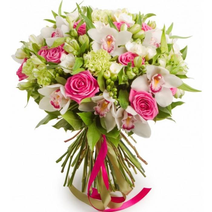 Сборный букет орхидеи и розы R124