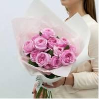 Букет 11 розовых пионовидных роз R018
