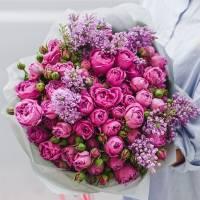 Сборный букет пионовидных роз и сирени R031